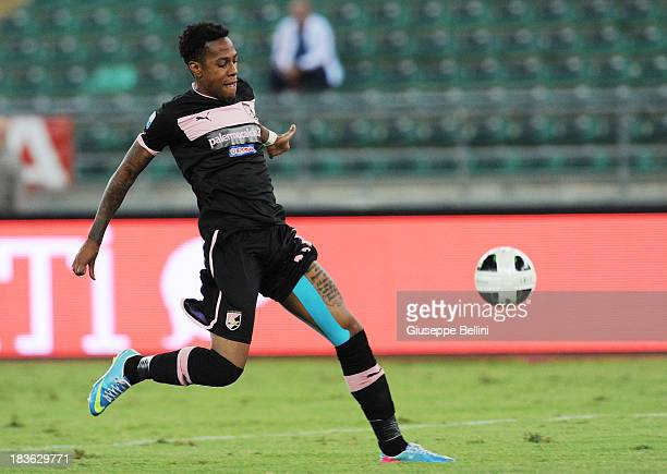 Abel Hernandez of Palermo in action during the Serie B match between AS Bari and US Citta di Palermo at Stadio San Nicola on September 24 2013 in...