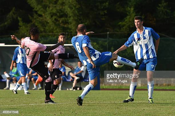 Abel Hernandez of Palermo scores his team's fourth goal during the preseason friendly match between US Citta di Palermo and AD Calciochiese at Grilli...