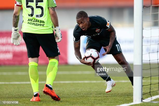 Abel Hernandez of PFC CSKA Moscow celebrates his goal during the Russian Premier League match between FC Enisey Krasnoyarsk and PFC CSKA Moscow on...