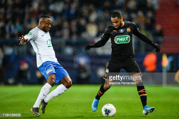 Abel Hippoclyte BEHMA of Granville and Jordan AMAVI of Marseille during the French Cup Soccer match between US Granville and Olympique de Marseille...
