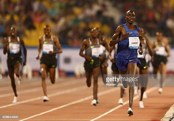 Abel Kiprop Mutai of Kenya races to the finish line to win the Men's 1500 metres final during the Doha IAAF Diamond League 2016 meeting at Qatar...