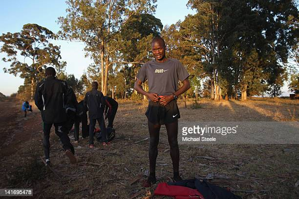 Abel Kirui of Kenya and double world champion in the marathon ahead of a training run in Angily on February 4 2012 in Nairobi Kenya