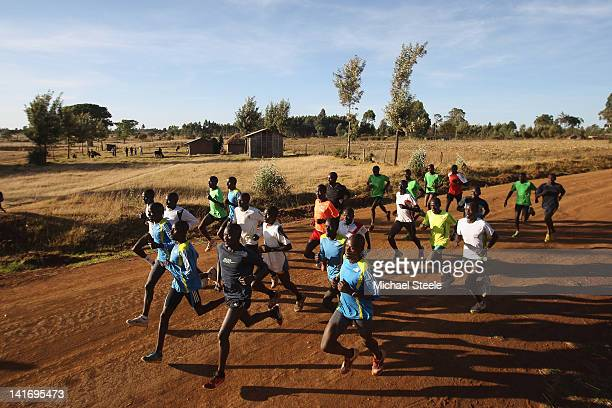 Abel Kirui of Kenya and double world champion in the marathon during a group training run in Angily on February 4 2012 in Nairobi Kenya