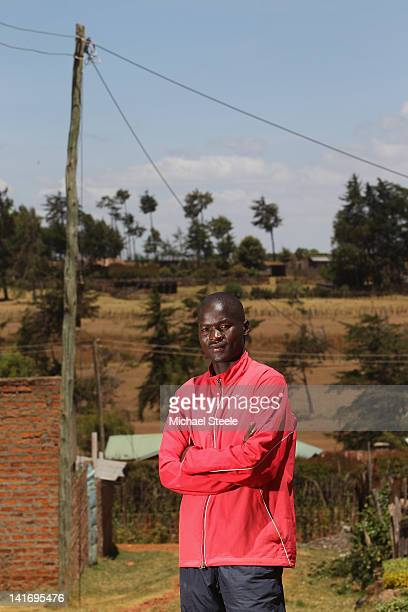 Abel Kirui of Kenya and double world champion in the marathon poses for a portrait outside his training base on February 4 2012 in Iten Kenya