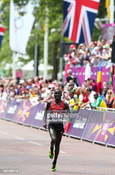 Abel Kirui of Kenya approaches the finish line on his way to winning silver in the Men's Marathon on Day 16 of the London 2012 Olympic Games at The...