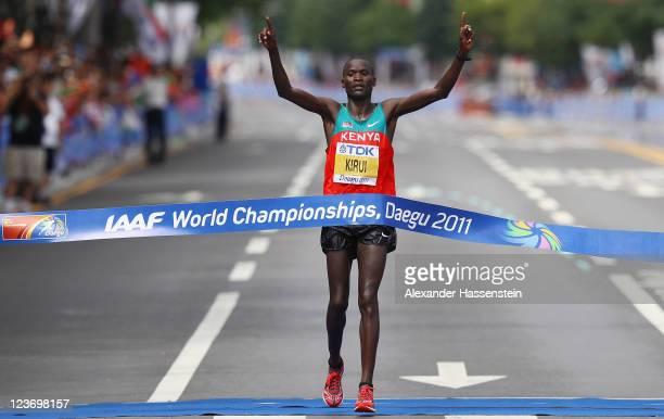 Abel Kirui of Kenya celebrates after winning the men's Marathon Final during day nine of 13th IAAF World Athletics Championships at Daegu Stadium on...