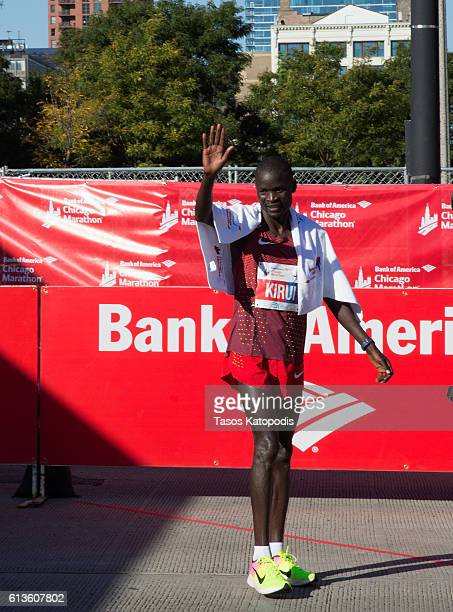 Abel Kirui of Kenya celebrates after winning the men's race at the Bank of America Chicago Marathon on October 9 2016 in Chicago Illinois