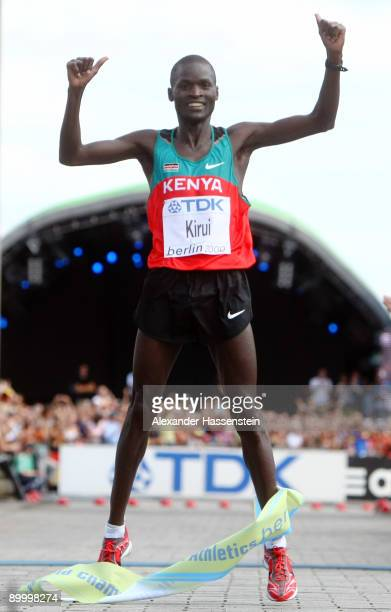 Abel Kirui of Kenya celebrates winning the gold medal in the men's Marathon Final during day eight of the 12th IAAF World Athletics on August 22 2009...