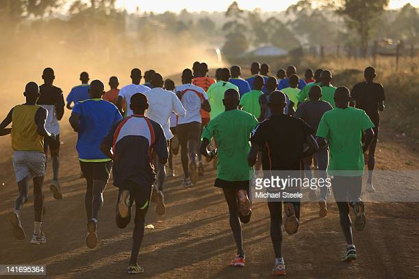 Abel Kirui of Kenya double world champion in the marathon and his training group in Angily on February 4 2012 in Nairobi Kenya