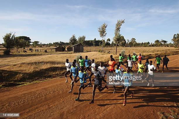 Abel Kirui of Kenya double world champion in the marathon during a group training run in Angily on February 4 2012 in Nairobi Kenya