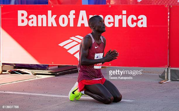 Abel Kirui of Kenya reacts after winning the men's race at the Bank of America Chicago Marathon on October 9 2016 in Chicago Illinois