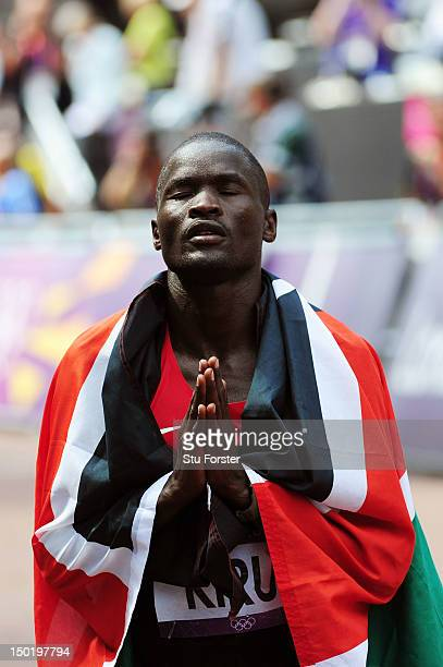 Abel Kirui of Kenya reacts as he wins silver in the Men's Marathon on Day 16 of the London 2012 Olympic Games at The Mall on August 12 2012 in London...