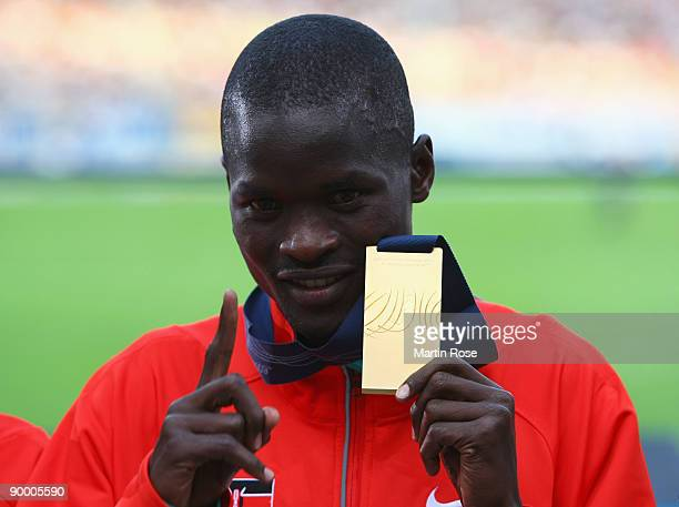Abel Kirui of Kenya receives the gold medal during the medal ceremony for the men's Marathon Final during day eight of the 12th IAAF World Athletics...