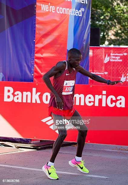 Abel Kirui of Kenya wins the men's race at the Bank of America Chicago Marathon on October 9 2016 in Chicago Illinois