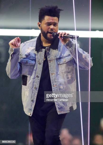 Abel Makkonen Tesfaye known professionally as The Weeknd is seen performing on stage at the AmericanAirlines Arena on October 24 2017 in Miami Florida