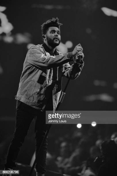 Abel Makkonen Tesfaye known professionally as The Weeknd performs on stage during 'The Weeknd Starboy Legend of the Fall 2017 World Tour' at the...