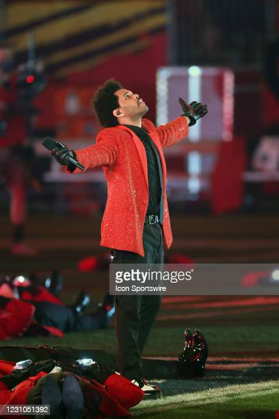 Abel Makkonen Tesfaye, known professionally as the Weeknd, performs during the Super Bowl Half-Time Show at the Super Bowl LV game between the Kansas...