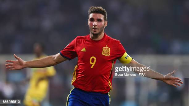 Abel Ruiz of Spain celebrates a goal during the FIFA U17 World Cup India 2017 Semi Final match between Mali and Spain at Dr DY Patil Cricket Stadium...