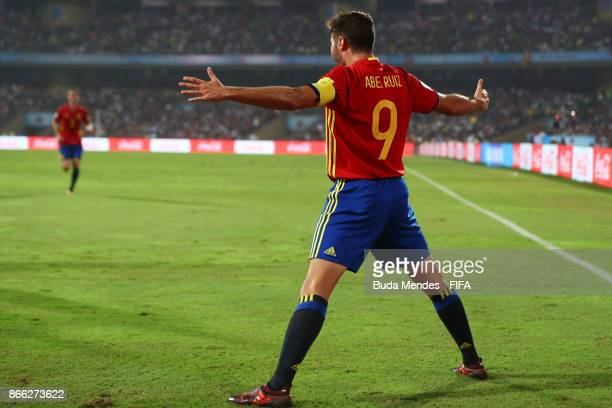 Abel Ruiz of Spain celebrates a scored goal during the FIFA U17 World Cup India 2017 Semi Final match between Mali and Spain at Dr DY Patil Cricket...