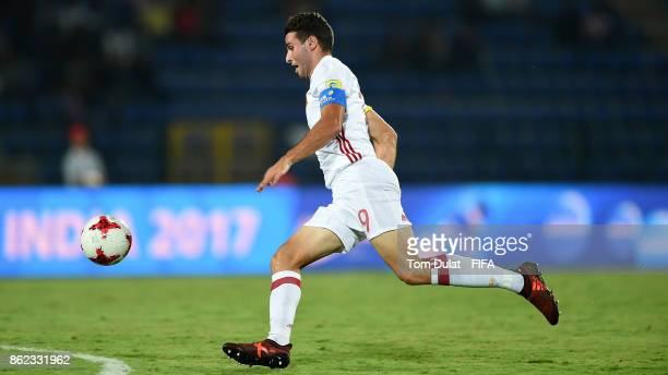 Abel Ruiz of Spain in action during the FIFA U17 World Cup India 2017 Round of 16 match between France and Spain at Indira Gandhi Athletic Stadium on...