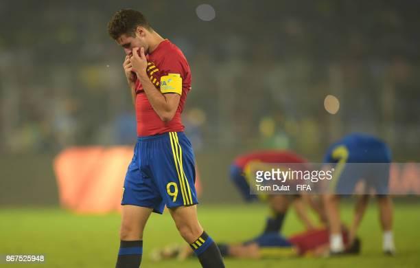Abel Ruiz of Spain looks dejected after the FIFA U17 World Cup India 2017 Final match between England and Spain at Vivekananda Yuba Bharati Krirangan...