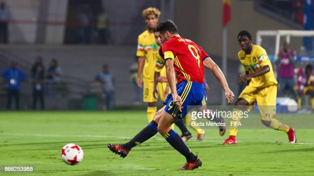 Abel Ruiz of Spain scores a penalty during the FIFA U17 World Cup India 2017 Semi Final match between Mali and Spain at Dr DY Patil Cricket Stadium...