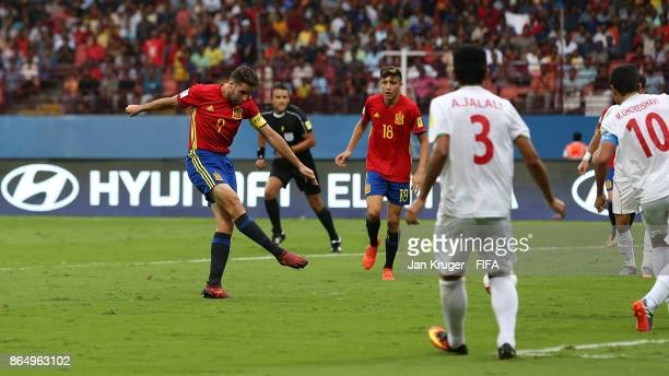 Abel Ruiz of Spain scores the opening goal during the FIFA U17 World Cup India 2017 Quarter Final match between Spain and Iran at Jawaharlal Nehru...
