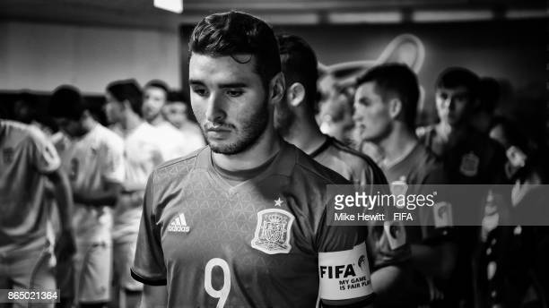 Abel Ruiz of Spain waits in the tunnel ahead of the FIFA U17 World Cup India 2017 Quarter Final match between Spain and Iran at the Jawaharlal Nehru...