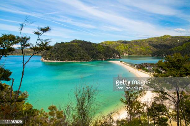abel tasman - torrent bay from the top - nelson city new zealand stock pictures, royalty-free photos & images