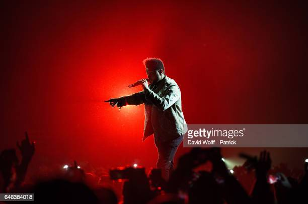 Abel Tesfaye aka The Weeknd peforms at AccorHotels Arena Popb Paris Bercy on February 28 2017 in Paris France