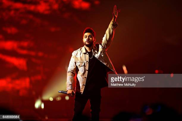 Abel Tesfaye aka 'The Weeknd' performs at Manchester Arena on March 5 2017 in Manchester England