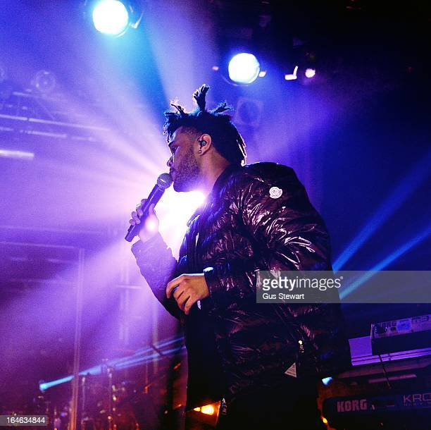 Abel Tesfaye aka The Weeknd performs on stage at Electric Ballroom on March 25 2013 in London England