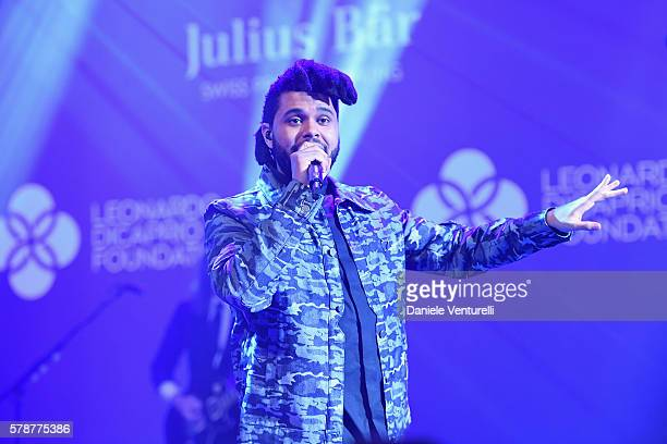 Abel Tesfaye performs on stage at a Dinner Auction during The Leonardo DiCaprio Foundation 3rd Annual SaintTropez Gala at Domaine Bertaud Belieu on...