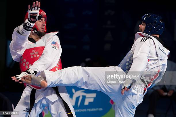 Abel Valdivia of Usa competes with Christos Zeimpekis of Grecia during a men's 87 kg combat of WTF World Taekwondo Championships 2013 at the...