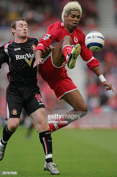 Abel Xavier of Middlesbrough hooks the ball away from Stephen Elliott during the Barclays Premiership match between Middlesbrough and Sunderland at...
