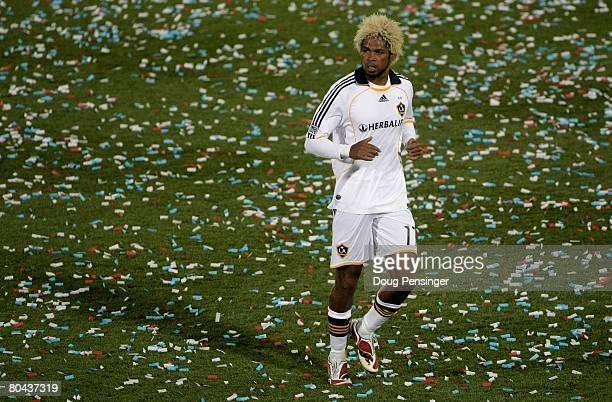 Abel Xavier of the Los Angeles Galaxy in action against the Colorado Rapids at Dick's Sporting Goods Park on March 29 2008 in Commerce City Colorado...