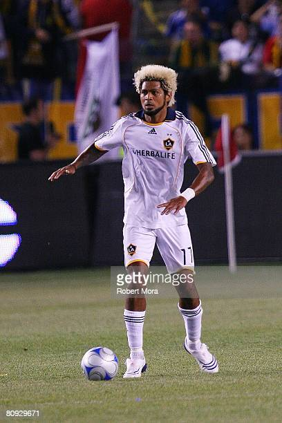 Abel Xavier of the Los Angeles Galaxy moves the ball up the field during the MLS match against Chivas USA at Home Depot Center on April 26 2008 in...