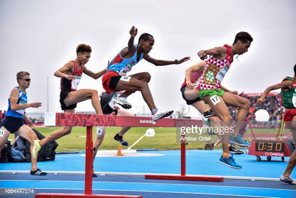 Abel Yamane of Finland and Hamza Sekhmani of Morocco compete in the Men's 2000m Steeplechase Stage 1 at Youth Olympic Park Villa Soldati on October...