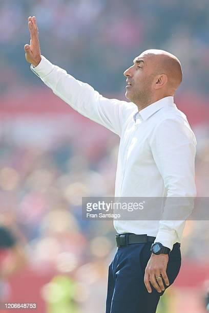 Abelardo Fernandez Manager of Espanyol reacts during the Liga match between Sevilla FC and RCD Espanyol at Estadio Ramon Sanchez Pizjuan on February...