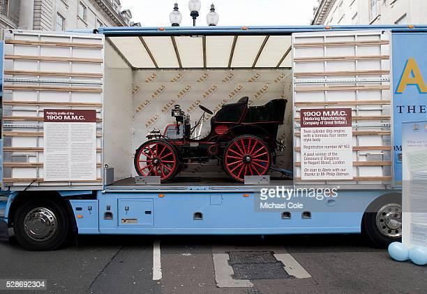'Abels ' modern day World Wide Removals transporter showing a 1900 MMC veteran car on board on show in Regent Street London