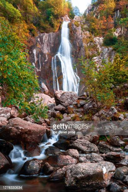 aber falls, abergwyngregyn, snowdonia, wales - waterfall stock pictures, royalty-free photos & images