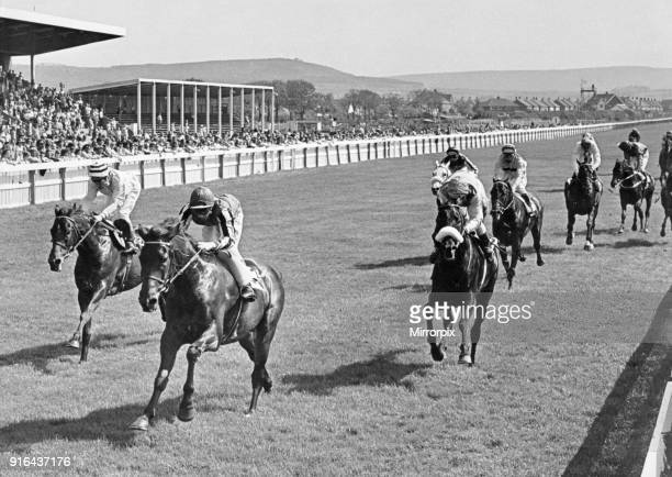 Abercata ridden by Richard Fox races home to win the Zetland Gold Cup at Redcar from Claudio Nicolai and Town and Country 30th May 1978