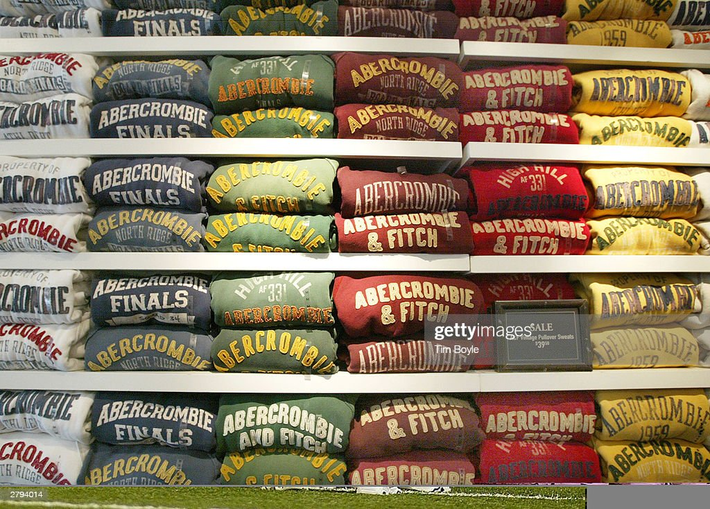 Abercrombie & Fitch sweatshirts are displayed in one of its stores December 8, 2003 in Chicago, Illinois. A recent report claims that Abercrombie & Fitch discriminates against sales representatives based on their 'attractiveness.' They have also decided to remove its Christmas catalog, which some claim featured sexually explicit images, from its store shelves.