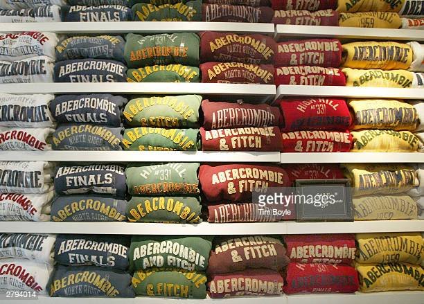 Abercrombie Fitch sweatshirts are displayed in one of its stores December 8 2003 in Chicago Illinois A recent report claims that Abercrombie Fitch...