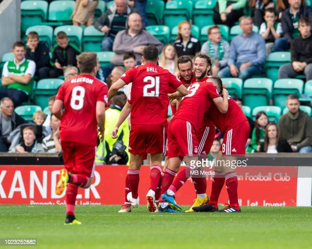 Aberdeen celebrate after centreback Tommie Hoban puts his side ahead just before half time during the first half as Hibernian play host to Aberdeen...