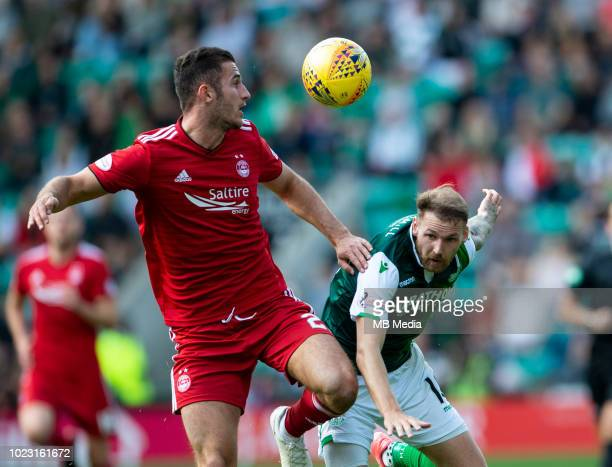 Aberdeen centreback Dominic Ball and Hibs' Martin Boyle compete for the ball during the first half as Hibernian play host to Aberdeen at Easter Road...