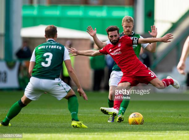 Aberdeen defender Graeme Shinnie clears during the second half as Hibernian play host to Aberdeen at Easter Road on August 25 2018 in Edinburgh...