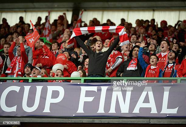 Aberdeen fans during the Scottish Communities League Cup Final at Celtic Park Stadium between Aberdeen and Caledonian Thistle on March 16 2014 in...