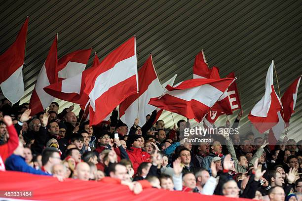 Aberdeen fans during the Scottish Premiere League match between Aberdeen FC and Motherwell FC at Pittodrie Stadium on May 11, 2014 in...