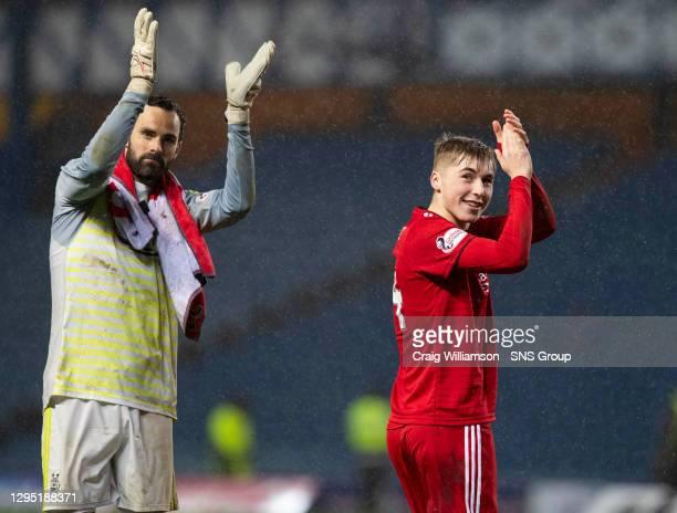 Aberdeen goalkeeper Joe Lewis with Dean Campbell